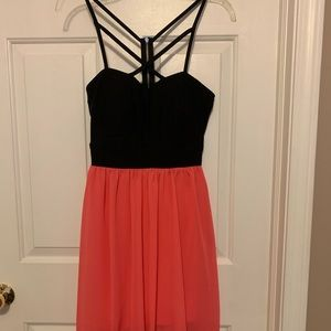 Black and Pink High-Low Dress